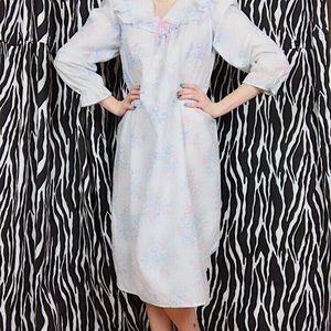 Light Blue Floral Vintage 70s Nightgown, Size M